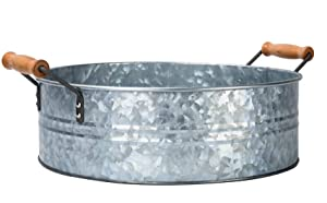 "Outshine Rustic Farmhouse Galvanized Metal Tray Tub and Wood Handles- Kitchen Bathroom Living Room Décor, Centerpiece, Storage – 12.2"" Diameter"