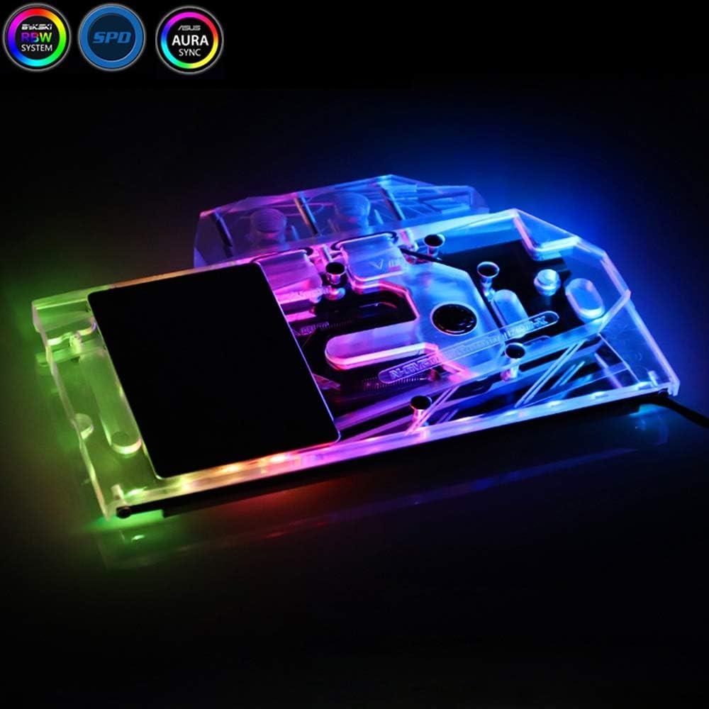 Bykski GPU Water Block Full-Cover Computer Water Liquid Cooling Graphic Card RBW LED Block for Gigabyte AORUS RTX 2080Ti 2080 2070 2060 (for Gigabyte GeForce RTX 2060/GTX 1660Ti/1660)
