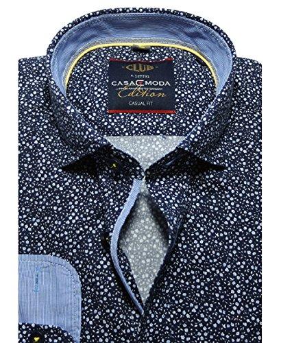 Casa Moda Freizeithemd Casual Fit Langarm blau Floraldruck Feinjersey
