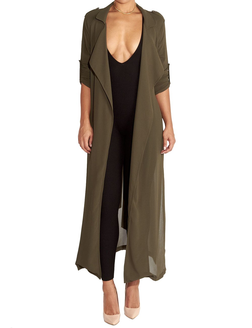 Begonia.K Women's Long Sleeve Chiffon Lightweight Maxi Sheer Duster Cardigan, Army Green, Small