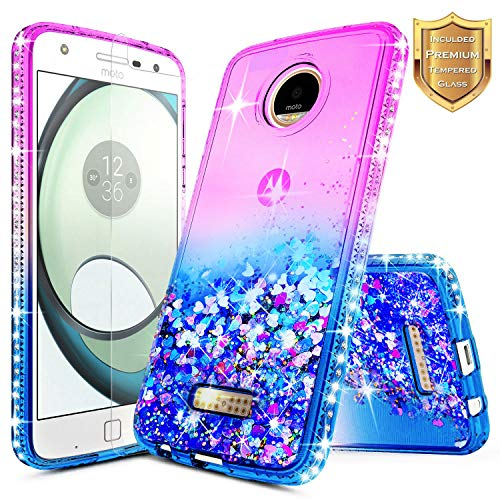Moto Z Force Case wtih [Tempered Glass Screen Protector], NageBee Quicksand Liquid Floating Shiny Glitter Flowing Bling Diamond Case for Motorola Moto Z Force Droid XT1650 (2016) - Purple/Blue