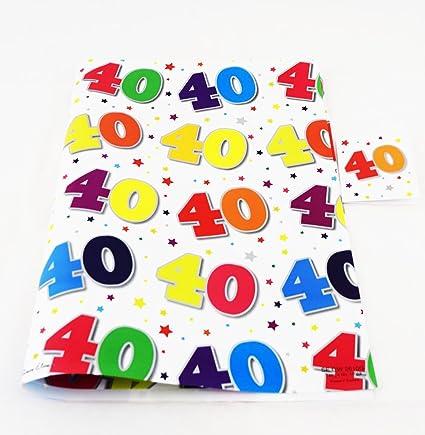 40th regalo edad 40 cumpleaños papel de regalo 2 hojas ...