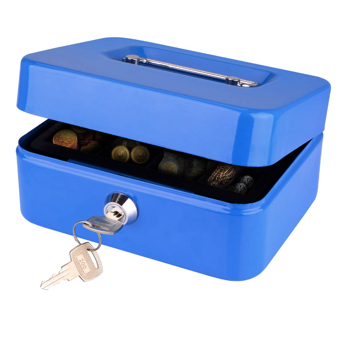 LeHatori Money Safe Key Lock Box with Money Tray Portable Metal Cash Registers Security Storage Bill Coin Container with Carry Handle 8 Inch Cash Box