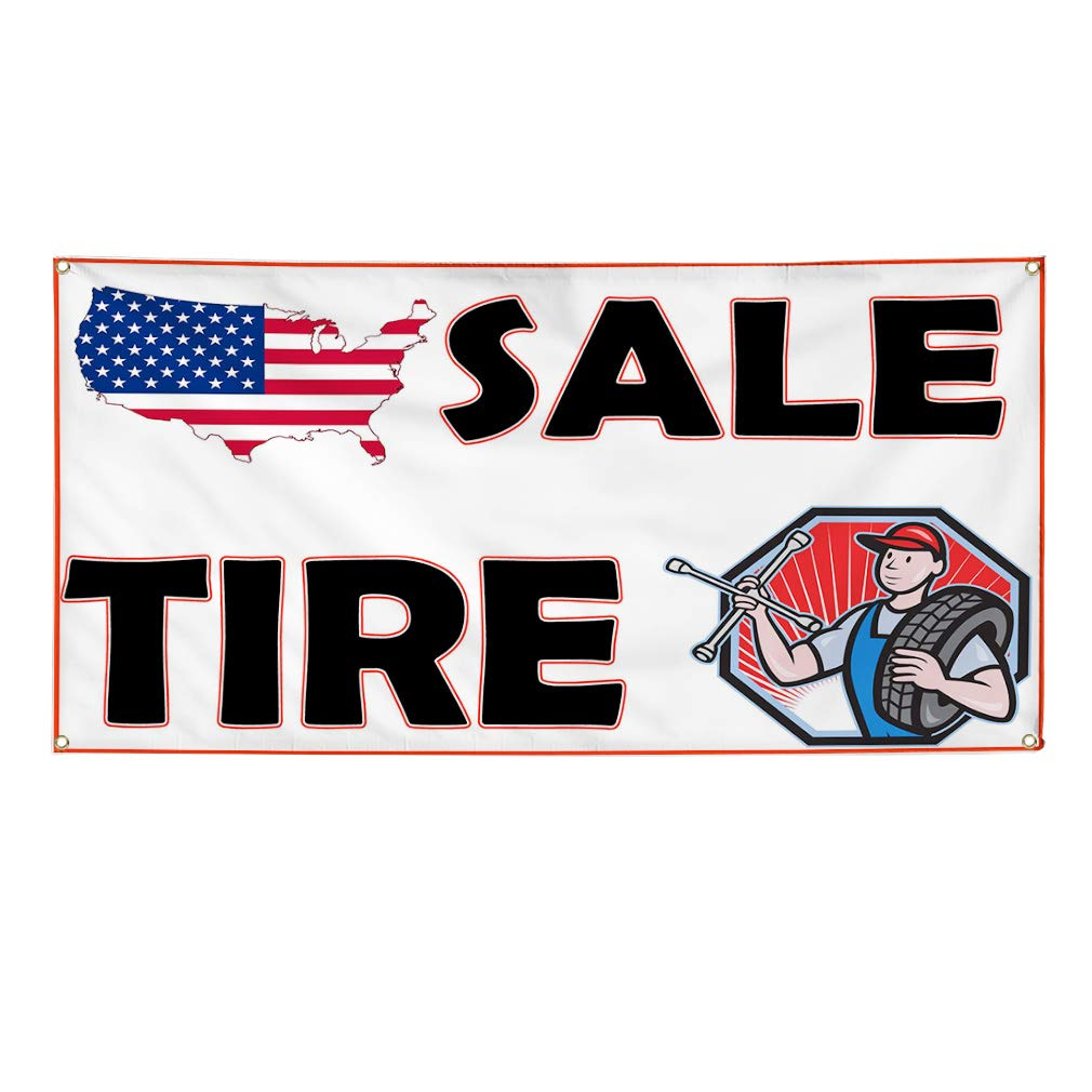 44inx110in Multiple Sizes Available One Banner 8 Grommets Vinyl Banner Sign Sale Tire White Black Red Business Car Marketing Advertising White