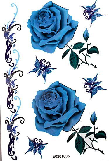 Amazoncom Kinghorse Temporary Tattoo For Women Bright Blue Roses
