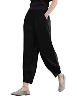 ea6388ef6165 IXIMO Women's 100% Linen Pants Relax Fit Lantern Cropped TaperedPants  Trousers with Elastic Waist