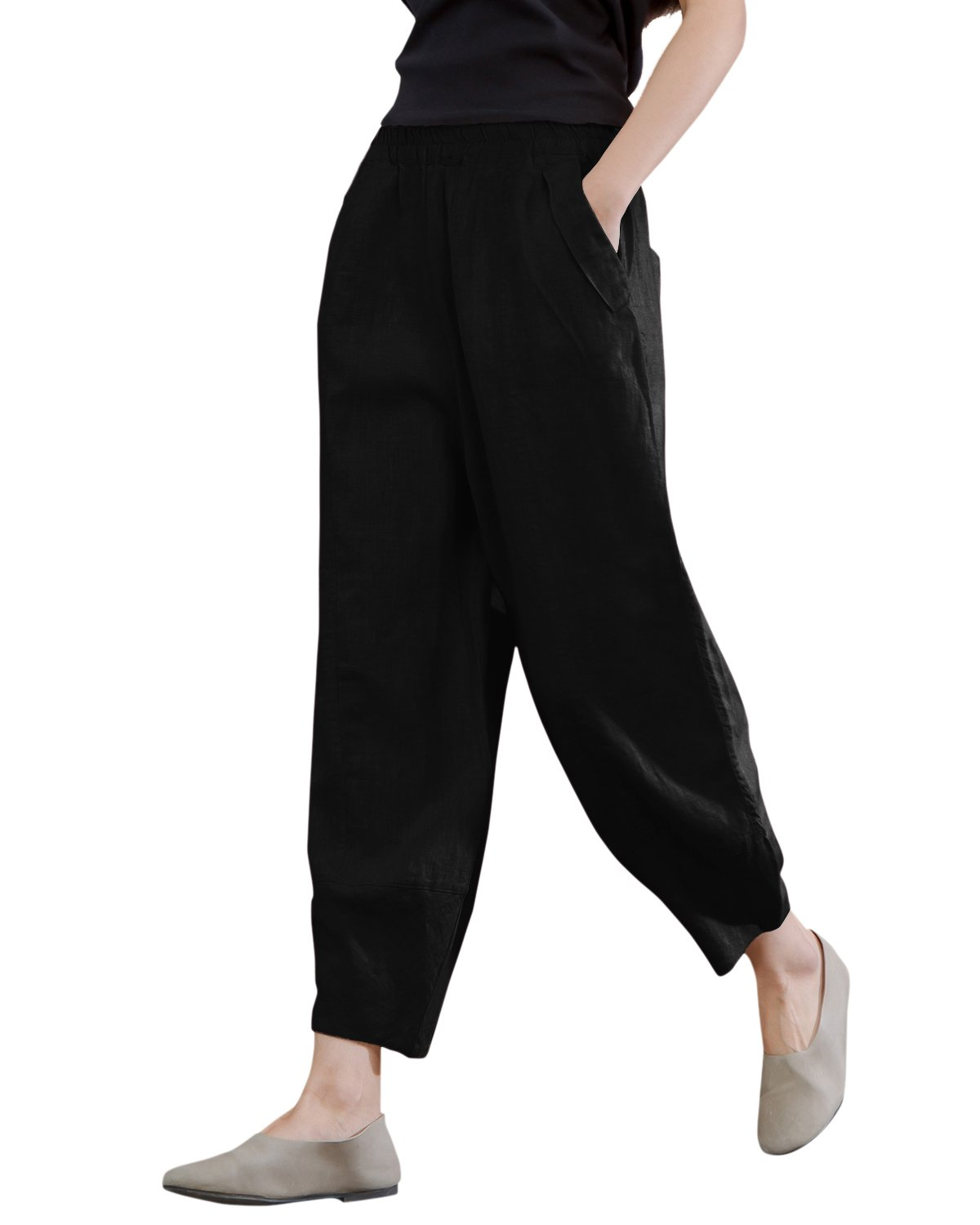 IXIMO Women's Linen Pants Lantern Tapered Elastic Waist Cropped Pants Trousers with Pockets Casual Capri Pants (Black, M)