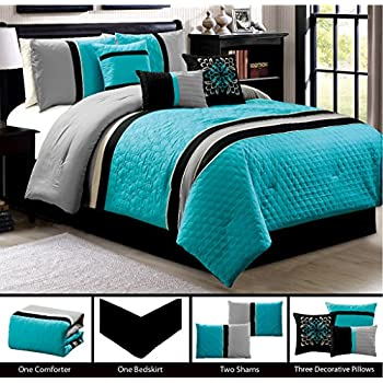 modern 7 piece california cal king bedding turquoise blue black grey qulted