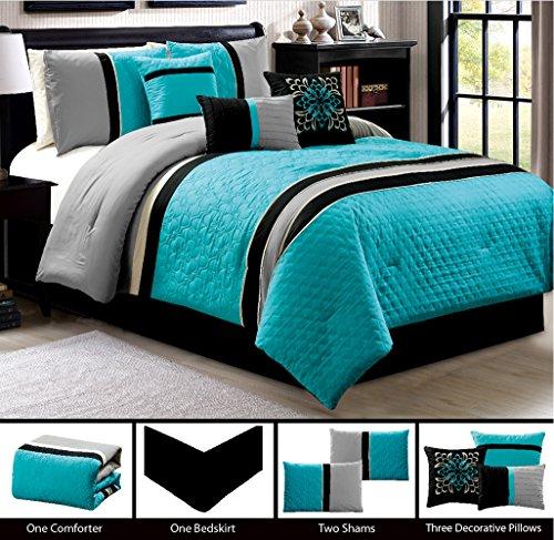 Modern 7 Piece QUEEN Bedding Turquoise Blue / Black / Grey ...