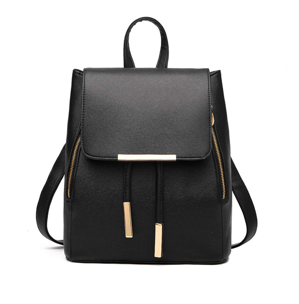 Aiseyi Cute Leather Backpack Fashion Small Daypacks Purse for Women Black Backpack (Black Fashion)