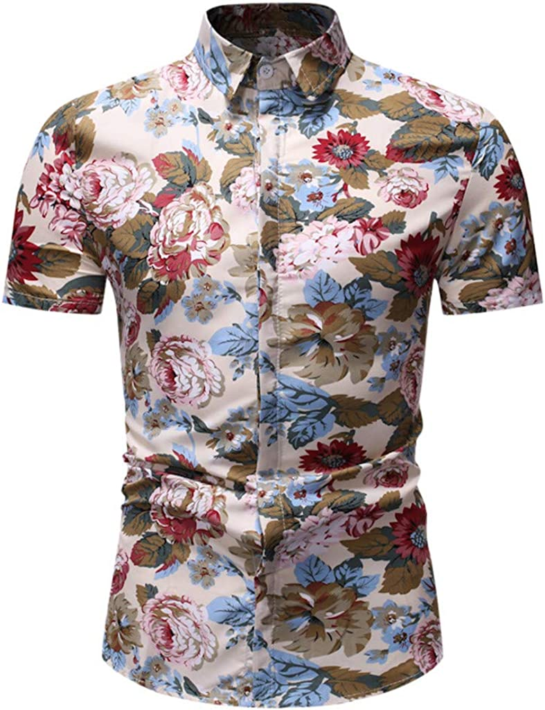 Setsail Mode f/ür Herren Casual Button Print Hawaii Print Strand Kurzarm Top Bluse