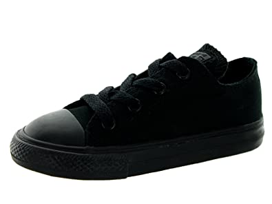 Converse Infant Shoes All Star Low Black Monochrome Sneakers (2, Black Mono)