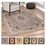Pastoral Medallion Grey French Area Rug European Formal Traditional Area Rug 4' x 5' Easy Clean Stain Fade Resistant Shed Free Modern Classic Contemporary Thick Soft Plush Living Dining Room Rug