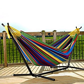 Portable Hammock Bed, Tloowy Double Hammock Swing Bed With Space Saving Steel Stand Portable Carrying Case for Backpacking, Travel, Beach, Yard, Patio, Outdoor, Max Weight 450lb Tropical