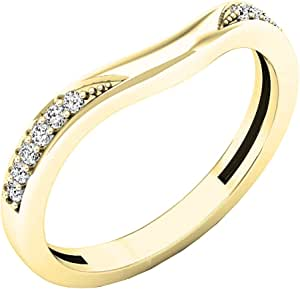 Dazzlingrock Collection Anillo de oro de 14 quilates con diamante redondo de 0,10 quilates para aniversario de boda, anillo de 1/10 quilates