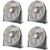 Lasko 20 Inch 3 Speed Cooling Air Circulator Portable Floor Fan, Gray (4 Pack)