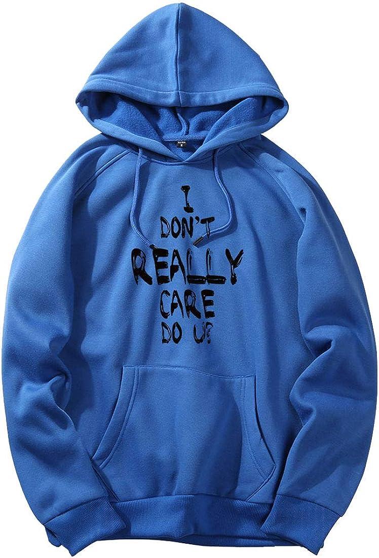 Men Stylish Long Sleeve I Dont Really Care DO U Letter Tops Sweatshirt Hoodie
