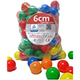 200 Stück 6cm Bälle für Kinder Bällebad Babybälle Plastikbälle ohne gefähliche Weichmacher (TÜV zertifiziert = fortlaufende Prüfungen seit 2012)