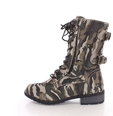 Women's Lace up Camouflage High Heel Combat Boots