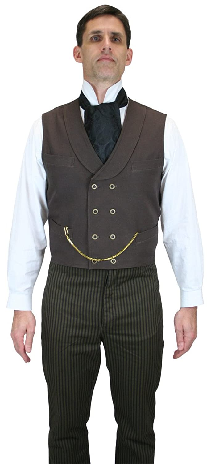 Men's Steampunk Jackets, Coats & Suits Canvas Double Breasted Dress Vest $59.95 AT vintagedancer.com