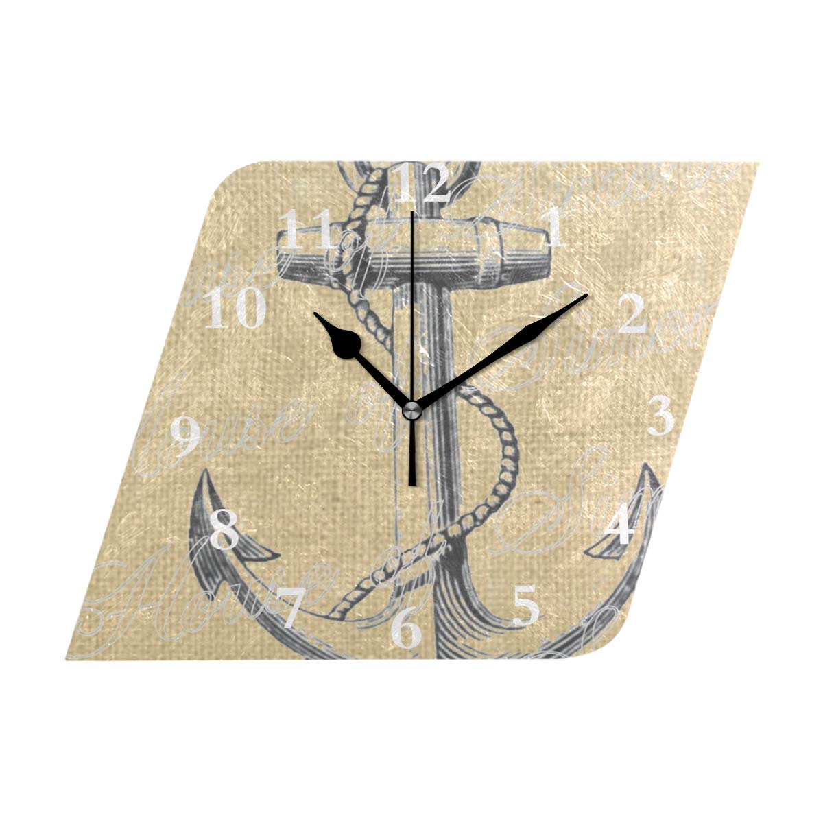 HU MOVR Wall Clock Anchor Ship Nautical Sea Vintage Silent Non Ticking Decorative Diamond Digital Clocks Indoor Outdoor Kitchen Bedroom Living Room