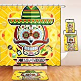 Nalahome Bath Suit: Showercurtain Bathrug Bathtowel Handtowel Day Of The Dead Decor Mexican Sugar Skull with Tacos and Chili Pepper November 2nd Colorful Art Yellow