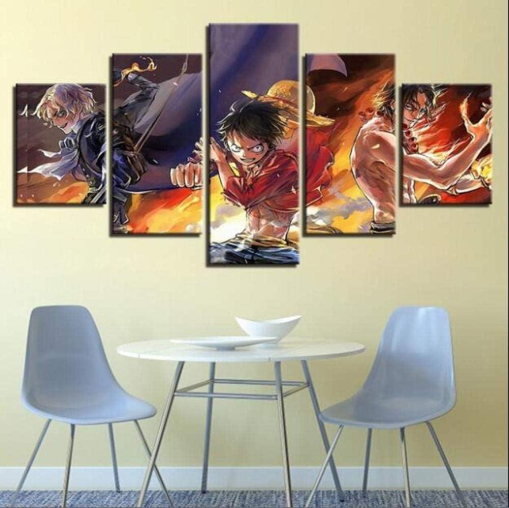 Gr/ö/ße A TKKXQT Leinwanddrucke 5 St/ück Anime One Piece Ruffy Ace Sabo Poster Wohnkultur Wohnzimmer Kunstwerk Ohne Rahmen