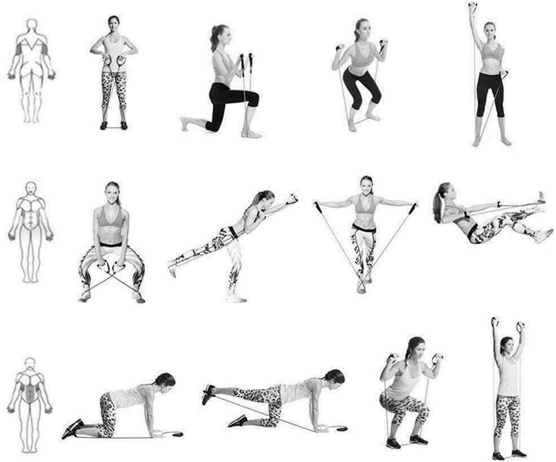 11 pezzi cinghia alla caviglia e borsa per il trasporto maniglie Set di fasce elastiche resistenti adatto per yoga a casa ancoraggio porta per yoga 5 fasce elastiche per esercizi DEEWISH resistenza