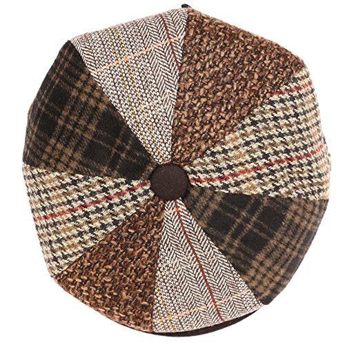 84323853b Sakkas NSB1910 - Jay Gatsby 8 Panel Wool Newsboy Paperboy Snap Brim Cap Hat  - Brown / Black - M