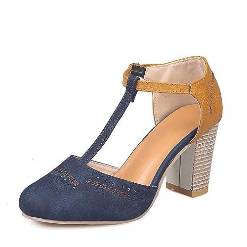 Amazon.com: Chenghe Mary Jane Zapatos de tacón alto para ...