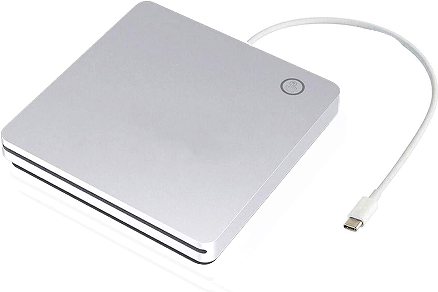 Ploveyy USB C Superdrive External DVD CD Drive DVD/CD +/-RW ROM Player Burner Writer Drive,Compatible with Windows 10 8 7 XP Vista Mac OS System for Mac Book Pro Air/Laptop/Desktop (Silver)