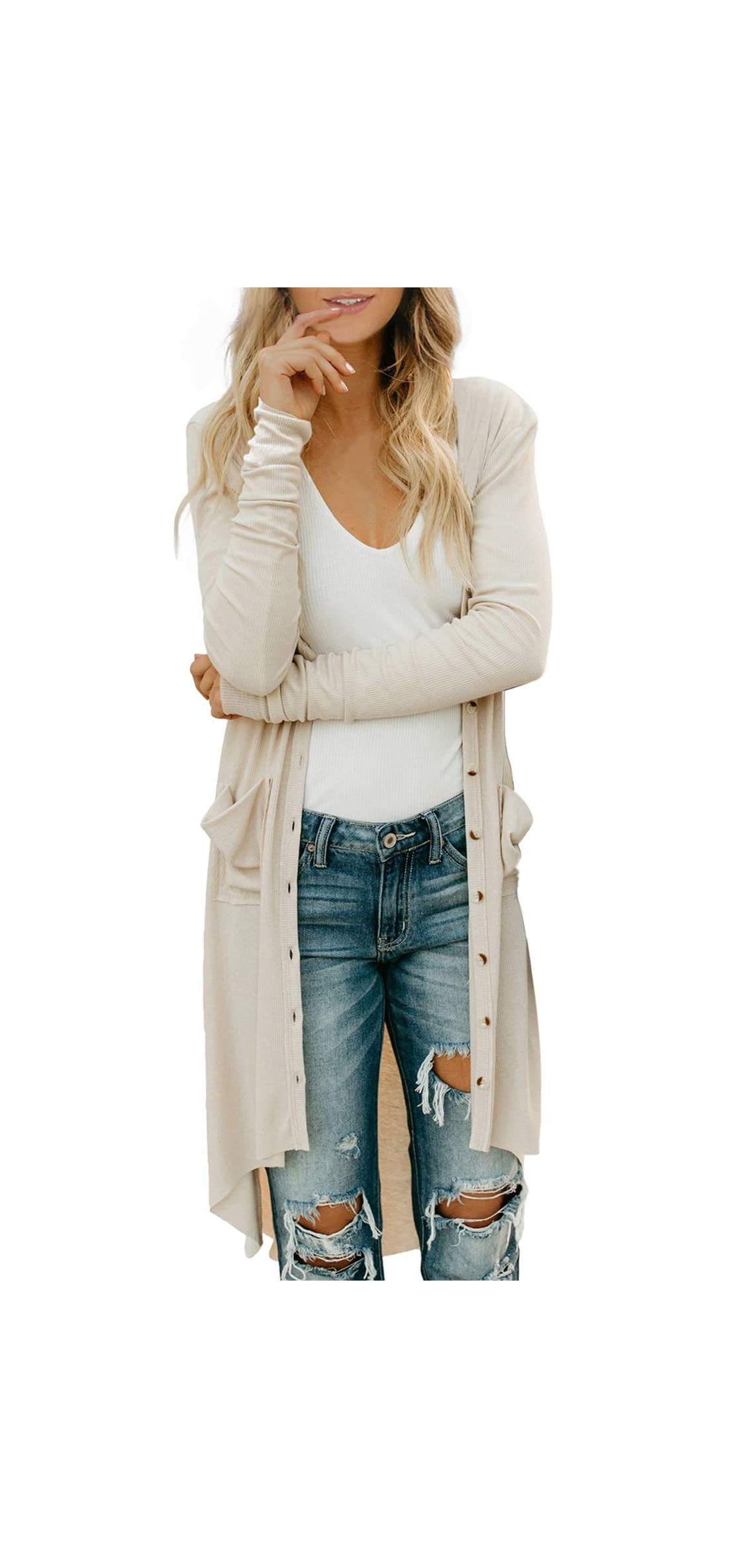 Womens Open Front Long Cardigans Solid Button Down Knit