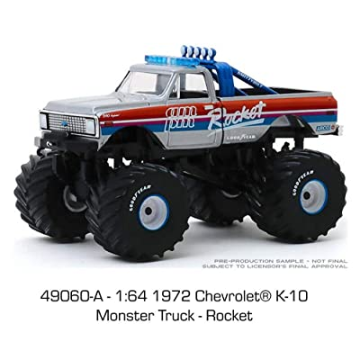 1972 Chevy K-100 Monster Truck, Kings of Crunch - Rocket - Greenlight 49060A/48 - 1/64 Scale Diecast Model Toy Car: Toys & Games