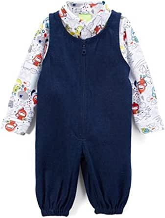 Snopea Baby Boys Zip Front Overall with Shirt Set Cosmonaut
