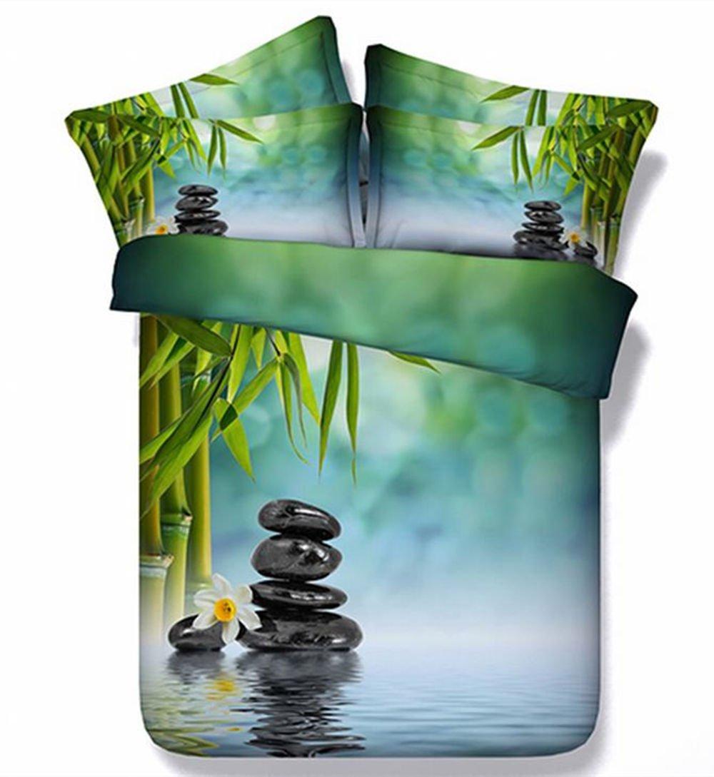 Fresh Bamboo and Cobblestone Print 4-Piece 3D Bedding Sets Full Modal,1 Duvet Cover 1 Flat Sheet 2 Pillowcase,No Comforter