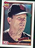 Signed Riddoch, Greg (San Diego Padres) 1991 Topps Baseball Card in black ball point pen. autographed