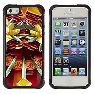 Híbridos estuche rígido plástico de protección con soporte para el Apple iPhone 5 / 5S - daggers danger fun abstract art