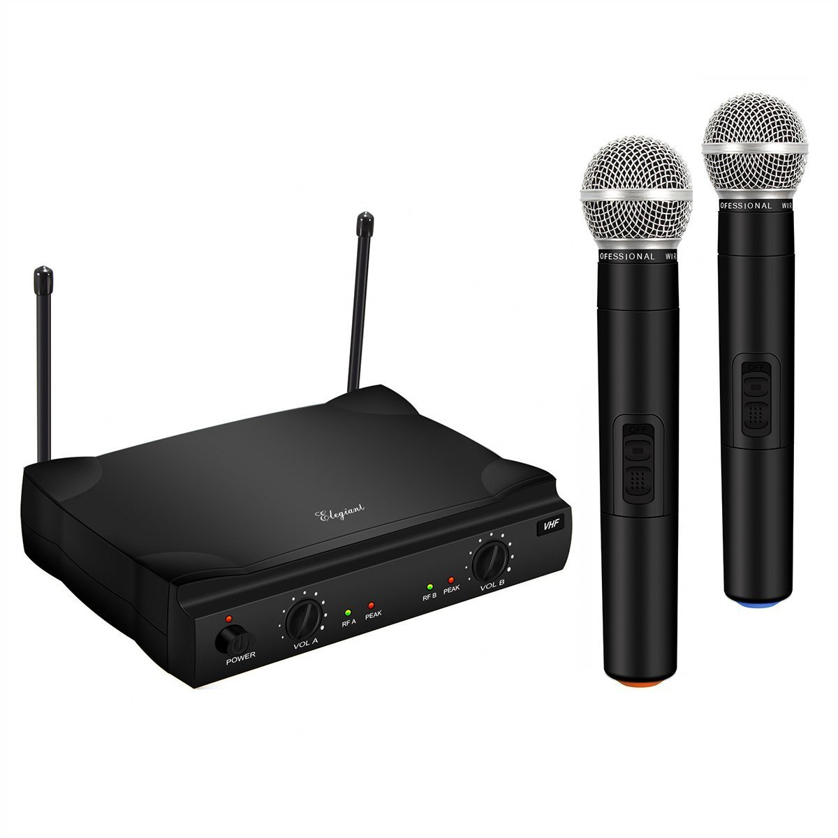 ELEGIANT VHF Wireless Microphone System with 2 Handheld Mics, Dual Channel Karaoke Singing Machine Portable Professional Home KTV Set Black