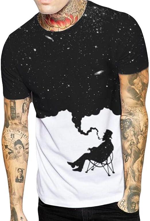 LuckyGirls Camisetas Hombre Color de Hechizo Estampado de Fumar ...