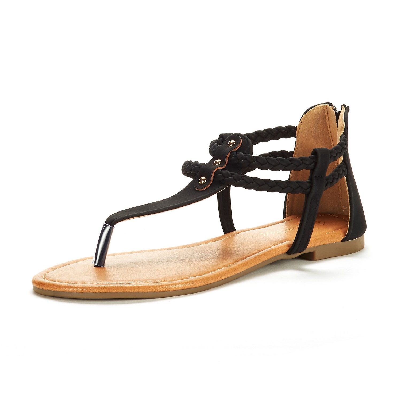 DREAM PAIRS Women's Maxi_02 Black Fashion Gladiator Design Ankle Strap Flat Sandals Size 10 M US