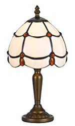 """Cal Lighting BO-2384AC Table Lamp with Stained Glass Shades, 13"""" x 3.5"""" x 13"""", Antique Brass"""
