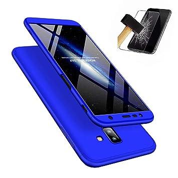 JINCHANGWU Compatible con Funda Samsung Galaxy J6 Plus 2018, Carcasa Samsung Galaxy J6 Plus 2018 con [ Cristal Templado] Carcasa 3 en 1 Caso, Azul