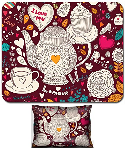 Liili Mouse Wrist Rest and Small Mousepad Set, 2pc Wrist Support IMAGE ID: 17693865 Vector art hand drawn holiday card with cupcake and teapot