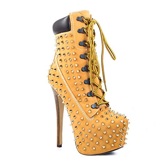 Women's Rivet Studded Platform High Heel Pointed Toe Lace Up Ankle Boots
