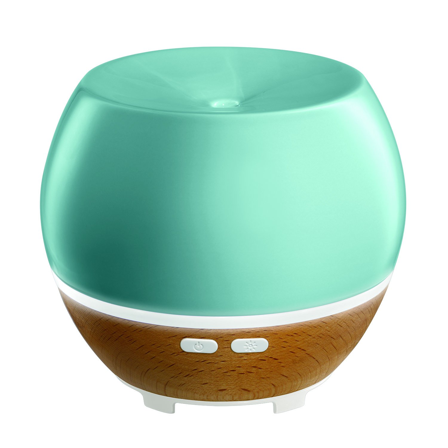 Ellia, Awaken Ultrasonic Essential Oil Aromatherapy Diffuser with 3 Oil Samples, 6 Hours Continuous Runtime and Mood Light. 130mL Reservoir Size. Ceramic & Wood, Blue ARM-530BL