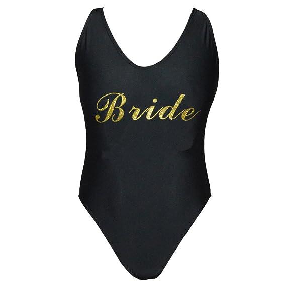8f659ed3f3536 shifeier Bride with Glitter Gold High Cut Low Back One Piece Swimwear  Bathing Suits