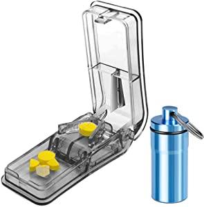 Pill Splitter for Small Pills. The Best Pill Cutter for Large Pills! Accurately Cutting Pill Vitamin in Half, 1/4, 1/8. Pill Slicer with Safety Shield. Keychain Pill Holder As a Bonus