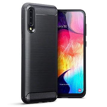 TERRAPIN Funda para Samsung Galaxy A50 Protectiva de Silicona Gel TPU Estrecha de Diseño Fibra Carbono con Efecto Cepillado - Negro