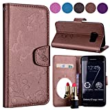 Samsung S7 Edge Case, Ailisi Luxury PU Leather Wallet Flip Case Butterfly Flower Design Magnetic Cover with Built-in Hidden Mirror, Stand Feature, Card Slots Holder for Samsung Galaxy S7 Edge-Brown
