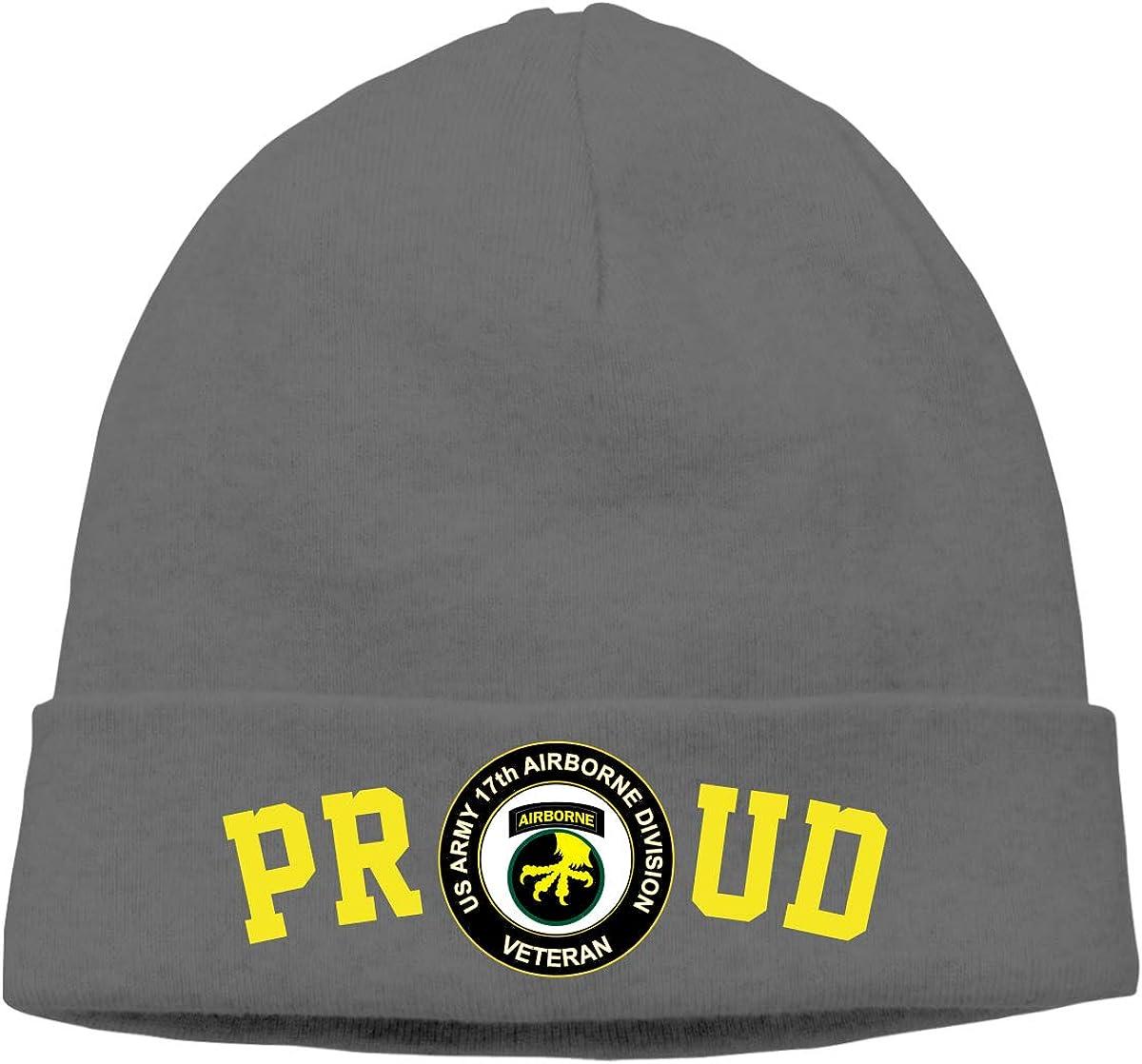 FORDSAN CP Proud US Army Veteran 17th Airborne Division Veteran Mens Beanie Cap Skull Cap Winter Warm Knitting Hats.